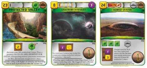 Les cartes vertes vous donnent un effet immediat mais peuvent vous fournir des icones qui permettent de valider d'autres cartes.